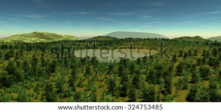 The sacred lake at the height of the hill in the spring time. The light of day. The sun is hidden behind the horizon. Most vegetation. Forest, grass, stones, lake. 3D Illustration, 3D rendering - stock photo