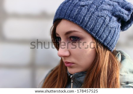 The sad girl - stock photo