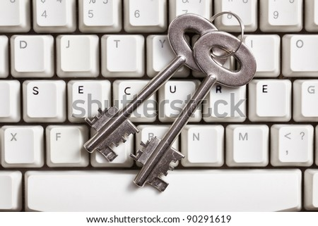 the safe internet.concept with safe key and keyboard - stock photo