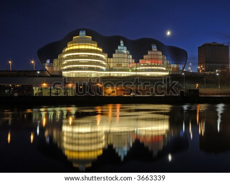 The Sage Music Venue and Newcastle Quayside at sunset