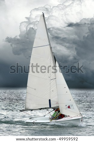 The sailboat on a mediterranean sea. - stock photo