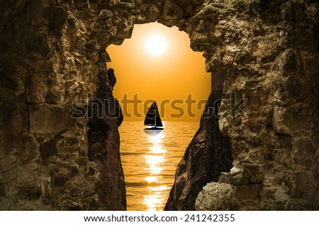 The sailing Boat view - stock photo