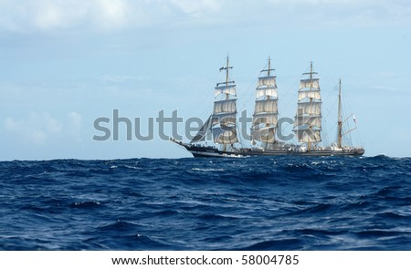 The sailing ship in the sea
