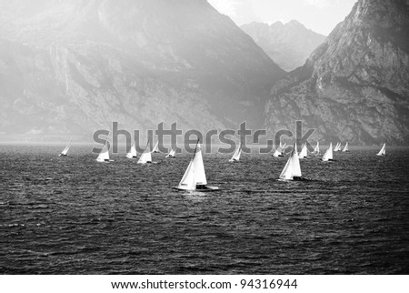 The sailing yachts compete in speed - stock photo