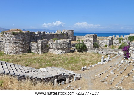 The Saint John Knights castle (or Nerantzia) at Kos island in Greece - stock photo