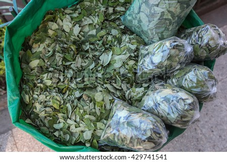 The sale of coca leaves in streets of Tingo Maria - stock photo