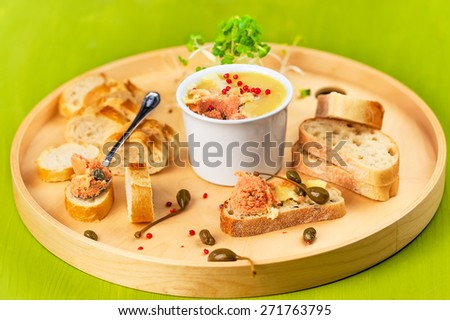 the salmon pate with capers - stock photo