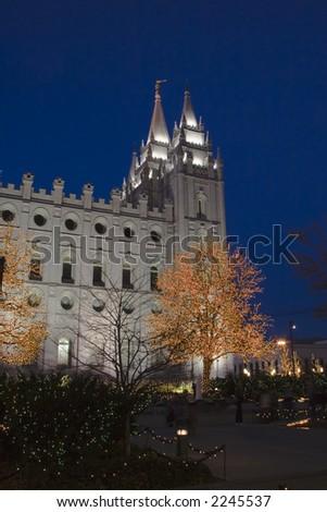 The Salt Lake City, Utah LDS (Mormon) temple taken after sunset with Christmas lights - stock photo