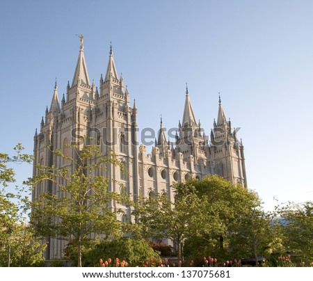 The Salt Lake Temple is located in Salt Lake City Utah and took ~40 years to build (from 1853 to 1893) and remains one of the most most visited locations in the state. - stock photo