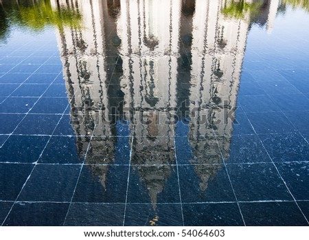 The Salt Lake Temple is the largest (of more than 120 around the world) and best-known temple of The Church of Jesus Christ of Latter-day Saints. - stock photo