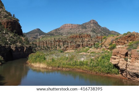The Salt River Canyon Which Separates the Apache Nation Reservations in Arizona - stock photo