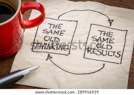 the same old thinking and disappointing results, closed loop or negative feedback mindset concept  - a napkin doodle with a cup of coffee - stock photo