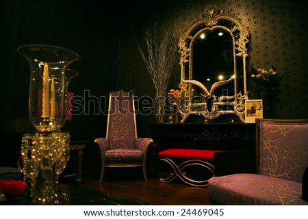 The sample of chic, magnificent and expensive furniture set at a furniture exhibition - stock photo