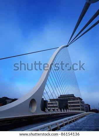 The Samuel Beckett Bridge, Dublin city. - stock photo