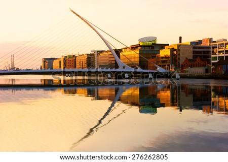 The Samuel Beckett Bridge on the River Liffey in Dublin, Ireland. - stock photo