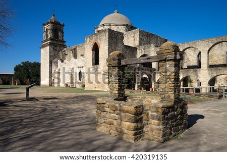 the san jose mission in san antonio texas - stock photo