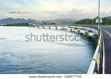 The San Juanico Bridge, view from Samar, towards Leyte. Philippines - stock photo