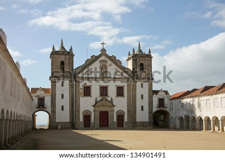 The sanctuary complex (Santuario de Nossa Senhora do Cabo Espichel), which includes the church still in use today, located to the west of Sesimbra, Portugal.