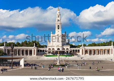 The Sanctuary of Fatima, which is also referred to as the Basilica of Our Lady of Fatima, Portugal - stock photo