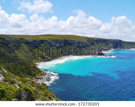 The sand beach bay near the remarkable rocks on Kangaroo island in Australia - stock photo