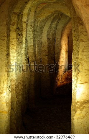 The sand cave in south of Estonia - stock photo