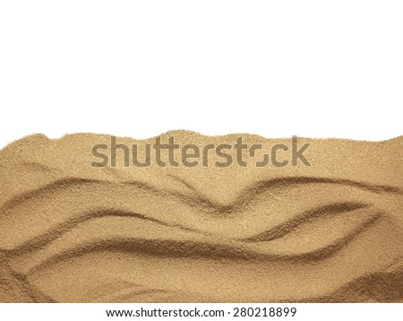The sand scattering isolated on white background. Close up - stock photo