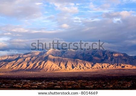 The Sandias east of Albuquerque, NM. - stock photo