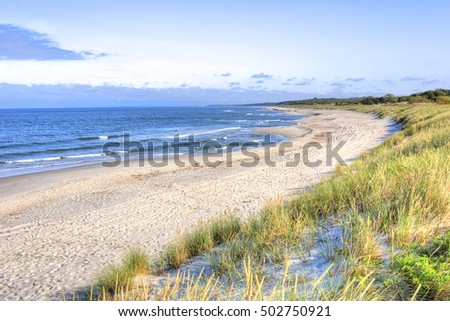 The sandy beach on the Baltic Sea coast near the town of Baltiysk