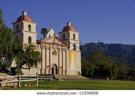 The Santa Barbara Mission was established on the Feast of Saint Barbara, December 4, 1786 and was the tenth of twenty-one California Missions to be founded by the Spanish Franciscans. - stock photo