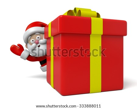 The Santa Claus and a gift box