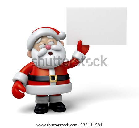 The Santa Claus and a white board