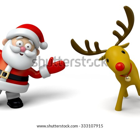 The Santa Claus and the Santa deer