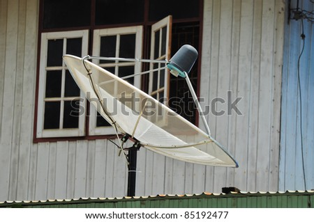 The satellite dish is installed on the roof - stock photo