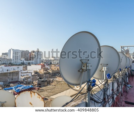 The satellite dish on the roof top of building in Casablanca, Morocco
