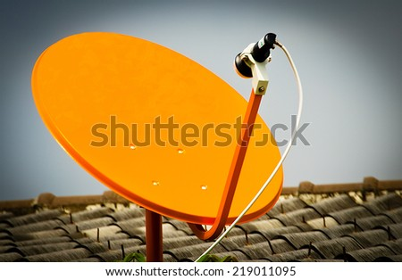 The Satellite Signal Receiver Dish for Television  - stock photo