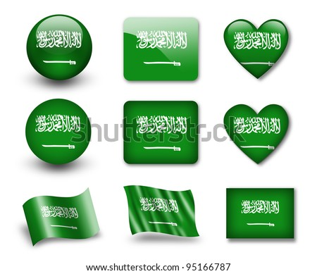 The Saudi Arabia flag - set of icons and flags. glossy and matte on a white background. - stock photo