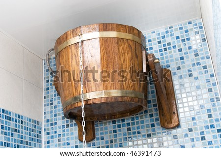 The sauna with bucket closeup - stock photo