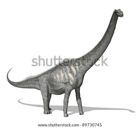 The Sauroposeidon dinosaur lived during the early Cretaceous period. This dinosaur was huge, it was around 112 feet long and weighed 55-66 tons. 3d render - stock photo