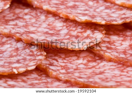 The sausage cut by slices on a dish