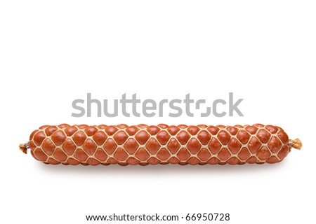 The sausage long loaf is tied up by a grid from a cord. On a white background - stock photo