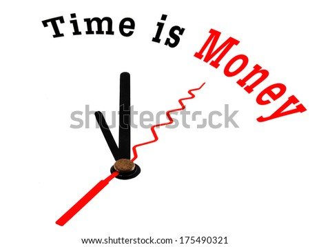 The saying or quote Time is Money on a white clock - stock photo