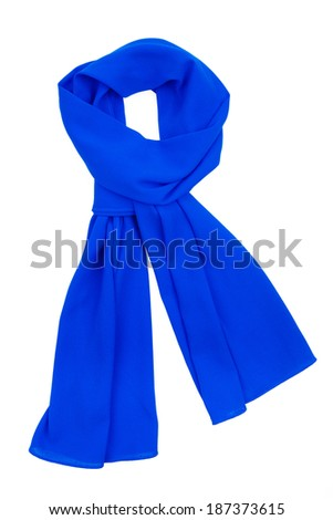 the scarf blue silk, tied in a beautiful knot, is isolated on a white background - stock photo