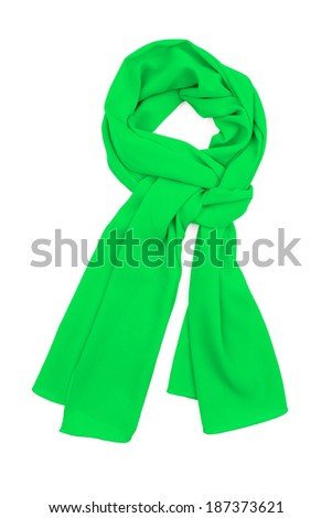 the scarf green silk, tied in a beautiful knot, is isolated on a white background - stock photo