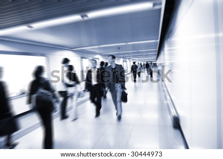the scene of a subway station. - stock photo