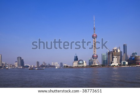 the scene of shanghai china. - stock photo