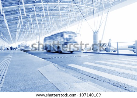 the scene of the airport building in shanghai china. - stock photo