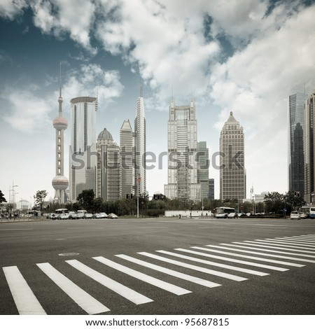 the scene of the century avenue in shanghai,China. - stock photo