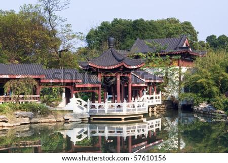 the scene of the chinese garden  in yuyuan shanghai china. - stock photo