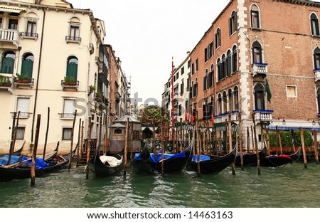 The scenery along the Grand Canal in Venice Italy