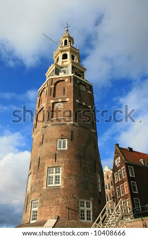 The scenery along the street and canal of Amsterdam - stock photo